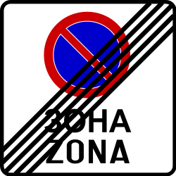Traffic sign of Bosnia-Herzegovina: End of the zone where parking is prohibited