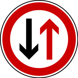 Traffic sign of Bosnia-Herzegovina: Road narrowing, give way to oncoming drivers