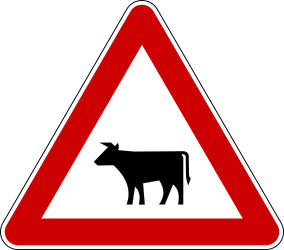 Traffic sign of Bosnia-Herzegovina: Warning for cattle on the road