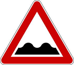 Traffic sign of Bosnia-Herzegovina: Warning for a bad road surface