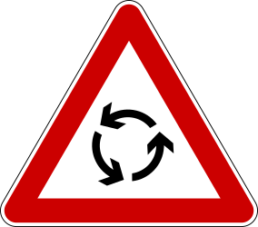 Traffic sign of Bosnia-Herzegovina: Warning for a roundabout