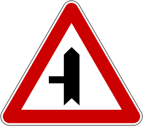 Traffic sign of Bosnia-Herzegovina: Warning for a crossroad with a side road on the left