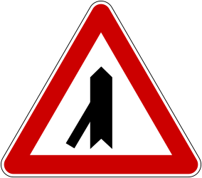 Traffic sign of Bosnia-Herzegovina: Warning for a crossroad with a sharp side road on the left