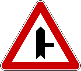 Traffic sign of Bosnia-Herzegovina: Warning for side road on the right