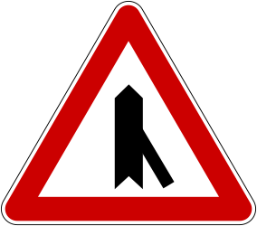 Traffic sign of Bosnia-Herzegovina: Warning for a crossroad with a sharp side road on the right