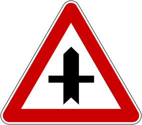 Traffic sign of Bosnia-Herzegovina: Warning for a crossroad side roads on the left and right