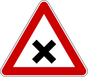Traffic sign of Bosnia-Herzegovina: Warning for an uncontrolled crossroad