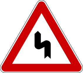 Traffic sign of Bosnia-Herzegovina: Warning for a double curve, first left then right