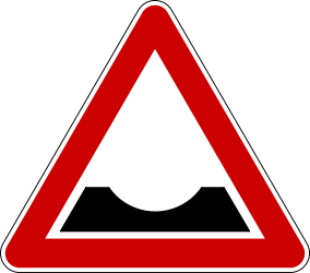 Traffic sign of Bosnia-Herzegovina: Warning for a dip in the road