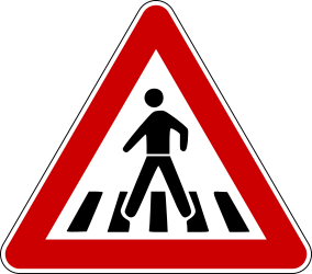 Traffic sign of Bosnia-Herzegovina: Warning for a crossing for pedestrians