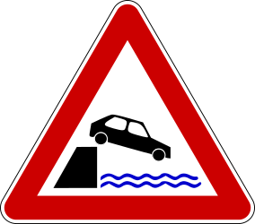 Traffic sign of Bosnia-Herzegovina: Warning for a quayside or riverbank