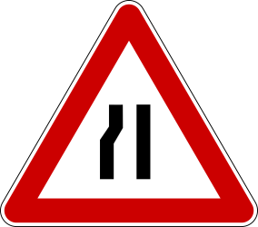 Traffic sign of Bosnia-Herzegovina: Warning for a road narrowing on the left