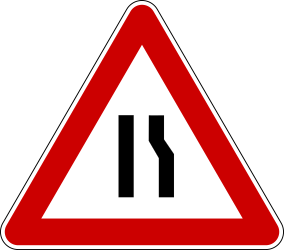 Traffic sign of Bosnia-Herzegovina: Warning for a road narrowing on the right