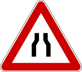 Traffic sign of Bosnia-Herzegovina: Warning for a road narrowing