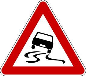 Traffic sign of Bosnia-Herzegovina: Warning for a slippery road surface
