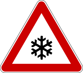 Traffic sign of Bosnia-Herzegovina: Warning for snow and sleet