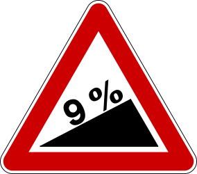 Traffic sign of Bosnia-Herzegovina: Warning for a steep ascent