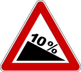 Traffic sign of Bosnia-Herzegovina: Warning for a steep descent