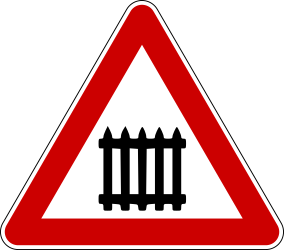 Traffic sign of Bosnia-Herzegovina: Warning for a railroad crossing with barriers