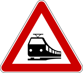 Traffic sign of Bosnia-Herzegovina: Warning for a railroad crossing without barriers