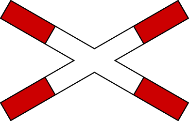 Traffic sign of Bosnia-Herzegovina: Warning for a railroad crossing with 1 railway