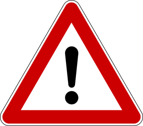 Traffic sign of Bosnia-Herzegovina: Warning for a danger with no specific traffic sign