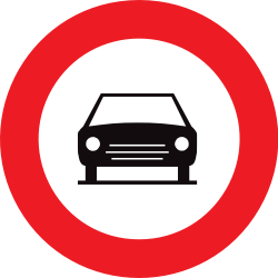 Traffic sign of Belgium: Cars prohibited