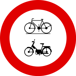 Traffic sign of Belgium: Cyclists and mopeds prohibited