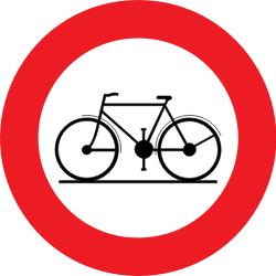 Traffic sign of Belgium: Cyclists prohibited