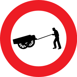 Traffic sign of Belgium: Handcarts prohibited