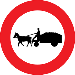 Traffic sign of Belgium: Horse carts prohibited
