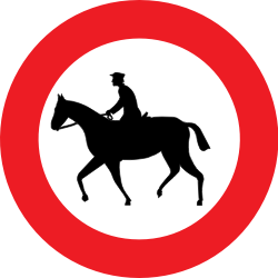 Traffic sign of Belgium: Equestrians prohibited