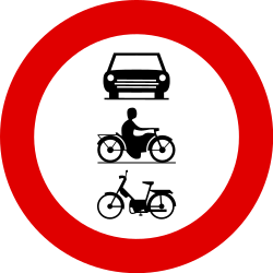 Traffic sign of Belgium: Mopeds, motorcycles and cars prohibited
