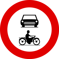 Traffic sign of Belgium: Motorcycles and cars prohibited