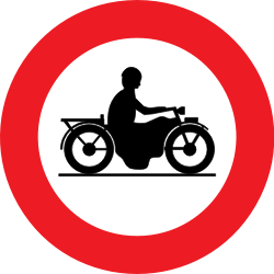 Traffic sign of Belgium: Motorcycles prohibited