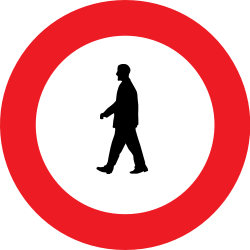 Traffic sign of Belgium: Pedestrians prohibited