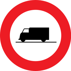 Traffic sign of Belgium: Trucks prohibited