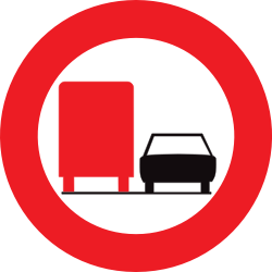 Traffic sign of Belgium: Overtaking prohibited for trucks