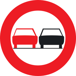 Traffic sign of Belgium: Overtaking prohibited