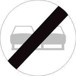 Traffic sign of Belgium: End of the overtaking prohibition