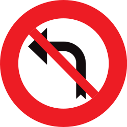Traffic sign of Belgium: Turning left prohibited
