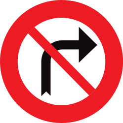 Traffic sign of Belgium: Turning right prohibited