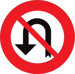 Traffic sign of Belgium: Turning around prohibited (U-turn)