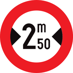 Traffic sign of Belgium: Vehicles wider than indicated prohibited