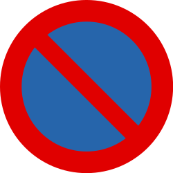 Traffic sign of Belgium: Parking prohibited