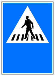 Traffic sign of Switzerland: Crossing for pedestrians
