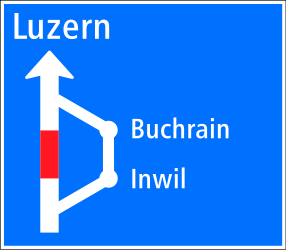Traffic sign of Switzerland: Detour for vehicles that are not allowed to pass.