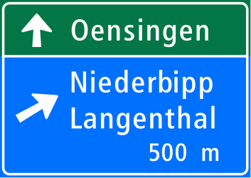 Traffic sign of Switzerland: Information about the next exit