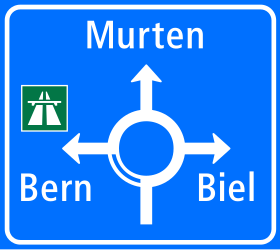 Traffic sign of Switzerland: Information about the directions of the roundabout