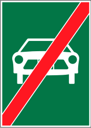 Traffic sign of Switzerland: End of the expressway